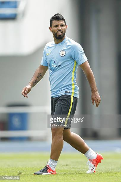 Sergio Aguero of Manchester City looks on after a training session of the 2016 International Champions Cup match between Manchester City and...