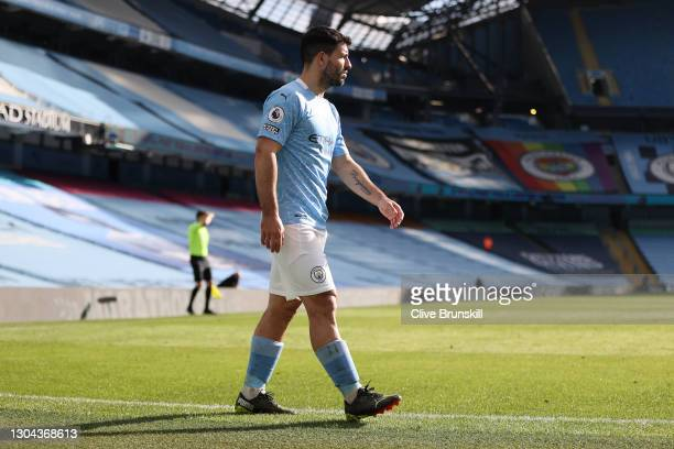 Sergio Aguero of Manchester City looks on after being substituted during the Premier League match between Manchester City and West Ham United at...