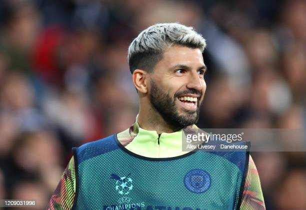 Sergio Aguero of Manchester City looks on as a substitute during the UEFA Champions League round of 16 first leg match between Real Madrid and...