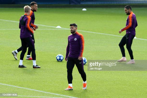 Sergio Aguero of Manchester City looks on during a training session ahead of their Group F match against TSG Hoffenheim in the UEFA Champions League...