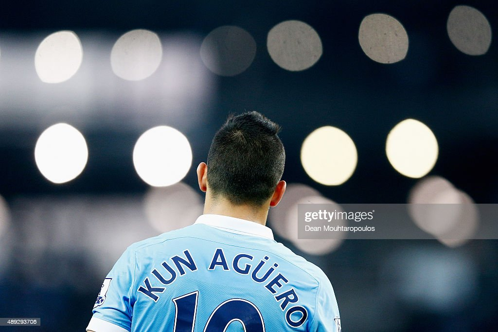 Sergio Aguero of Manchester City looks on during the Barclays Premier League match between Manchester City and West Ham United at Etihad Stadium on September 19, 2015 in Manchester, United Kingdom.