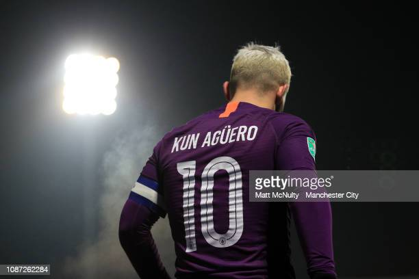 Sergio Aguero of Manchester City looks on during the Carabao Cup Semi Final Second Leg match between Burton Albion and Manchester City at Pirelli...