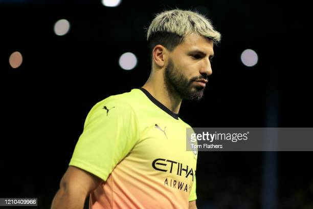 Sergio Aguero of Manchester City looks on during the FA Cup Fifth Round match between Sheffield Wednesday and Manchester City at Hillsborough on...