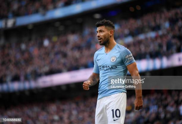 Sergio Aguero of Manchester City looks on during the Premier League match between Manchester City and Brighton Hove Albion at Etihad Stadium on...
