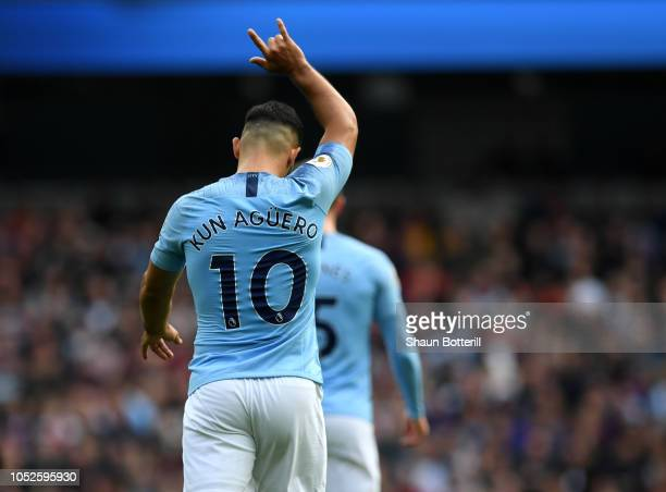 Sergio Aguero of Manchester City looks on during the Premier League match between Manchester City and Burnley FC at Etihad Stadium on October 20 2018...