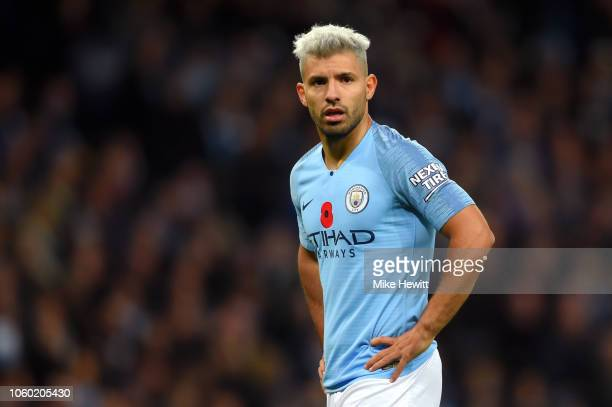Sergio Aguero of Manchester City looks on during the Premier League match between Manchester City and Manchester United at Etihad Stadium on November...