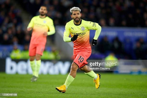 Sergio Aguero of Manchester City looks on during the Premier League match between Leicester City and Manchester City at The King Power Stadium on...
