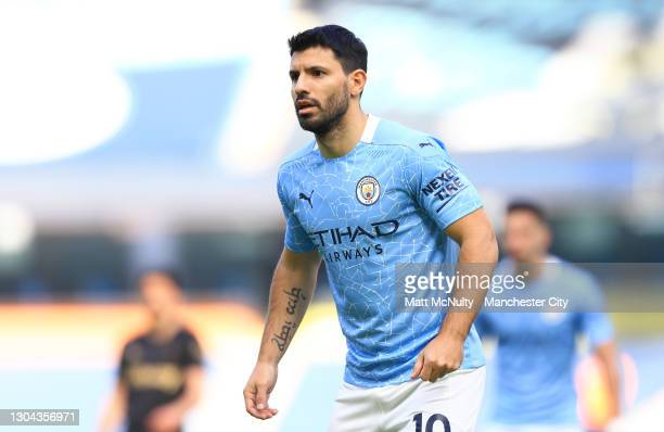 Sergio Aguero of Manchester City looks on during the Premier League match between Manchester City and West Ham United at Etihad Stadium on February...