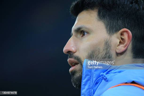 Sergio Aguero of Manchester City looks on during the Premier League match between Manchester City and Wolverhampton Wanderers at Etihad Stadium on...