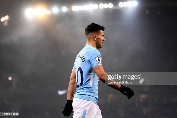 Sergio Aguero of Manchester City looks on during the Premier League match between Manchester City and Tottenham Hotspur at Etihad Stadium on December...