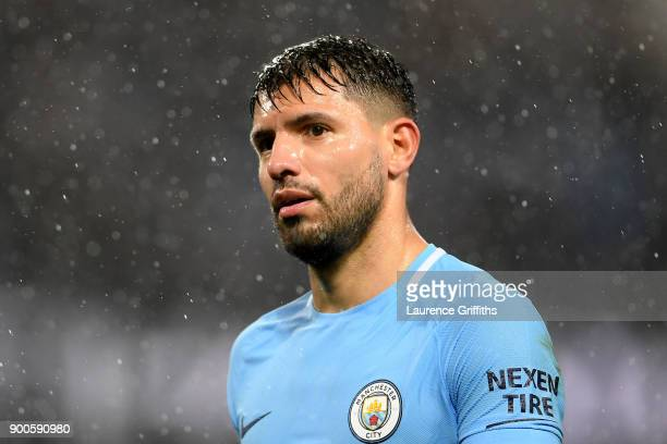Sergio Aguero of Manchester City looks on during the Premier League match between Manchester City and Watford at Etihad Stadium on January 2 2018 in...