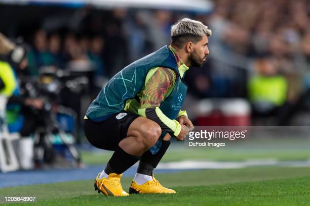 Sergio Aguero of Manchester City looks on during the UEFA Champions League round of 16 first leg match between Real Madrid and Manchester City at...