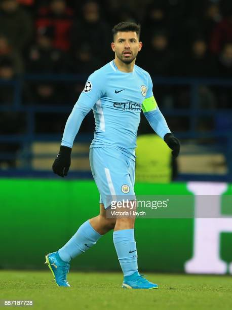 Sergio Aguero of Manchester City looks on during the UEFA Champions League group F match between Shakhtar Donetsk and Manchester City at Metalist...