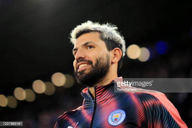 Sergio Aguero of Manchester City looks on prior to the Premier League match between Leicester City and Manchester City at The King Power Stadium on...