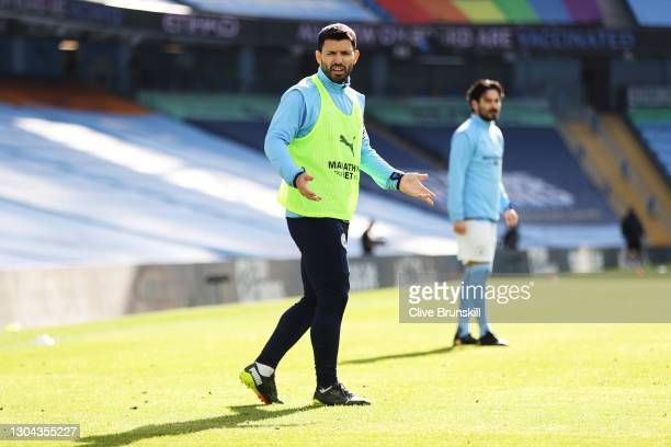 Sergio Aguero of Manchester City looks on prior to the Premier League match between Manchester City and West Ham United at Etihad Stadium on February...