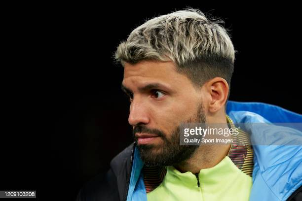 Sergio Aguero of Manchester City looks on prior to the UEFA Champions League round of 16 first leg match between Real Madrid and Manchester City at...