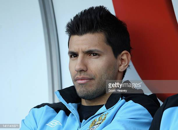 Sergio Aguero of Manchester City looks thoughtful ahead of the Barclays Premier League match between Swansea City and Manchester City at the Liberty...