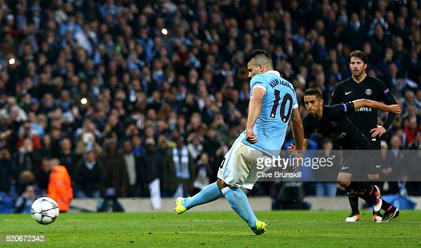 Sergio Aguero of Manchester City misses a penalty kick during the UEFA Champions League quarter final second leg match between Manchester City FC and...