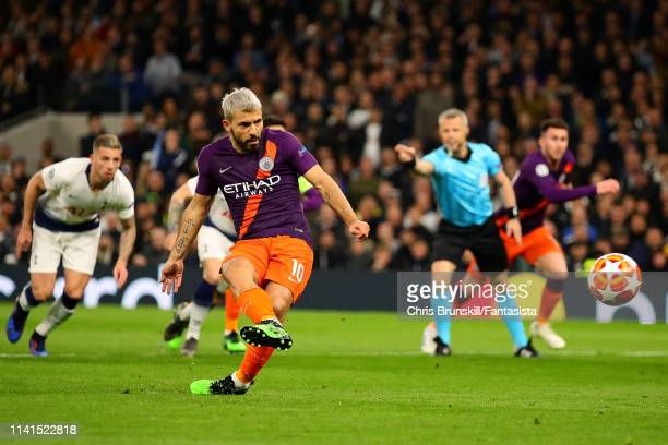 Sergio Aguero of Manchester City misses from the penalty spot during the UEFA Champions League Quarter Final first leg match between Tottenham...