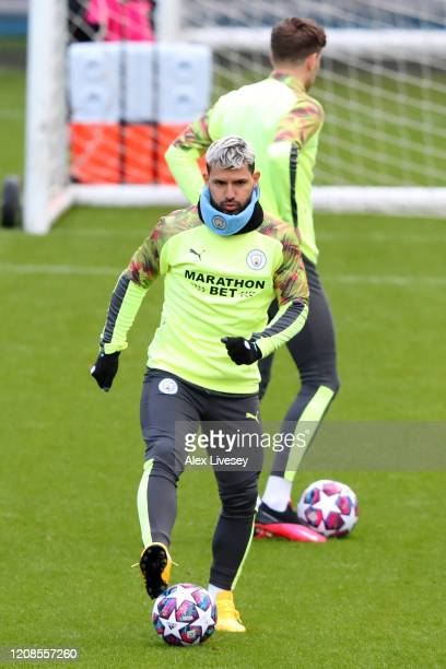 Sergio Aguero of Manchester City participates in a training session ahead of their UEFA Champions League round of 16 first leg match against Real...