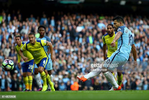 Sergio Aguero of Manchester City penalty is saved during the Premier League match between Manchester City and Everton at Etihad Stadium on October 15...