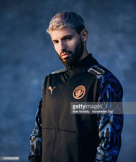Sergio Aguero of Manchester City poses wearing the 2020/21 Puma warm up top at the City Football Academy on August 03, 2020 in Manchester, England.