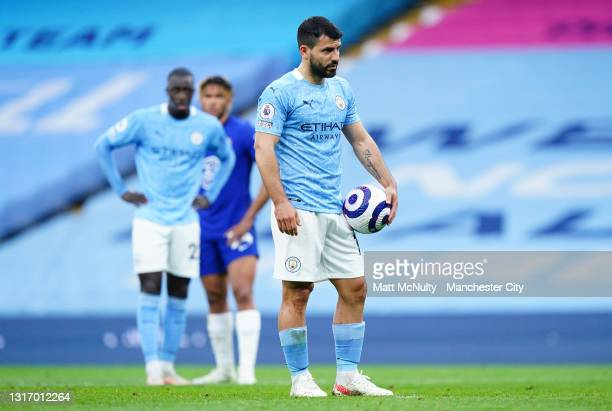Sergio Aguero of Manchester City prepares to take a penalty during the Premier League match between Manchester City and Chelsea at Etihad Stadium on...