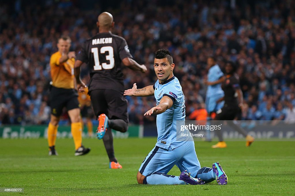Sergio Aguero of Manchester City protests after being fouled in the penalty box during the UEFA Champions League Group E match between Manchester City FC and AS Roma on September 30, 2014 in Manchester, United Kingdom.