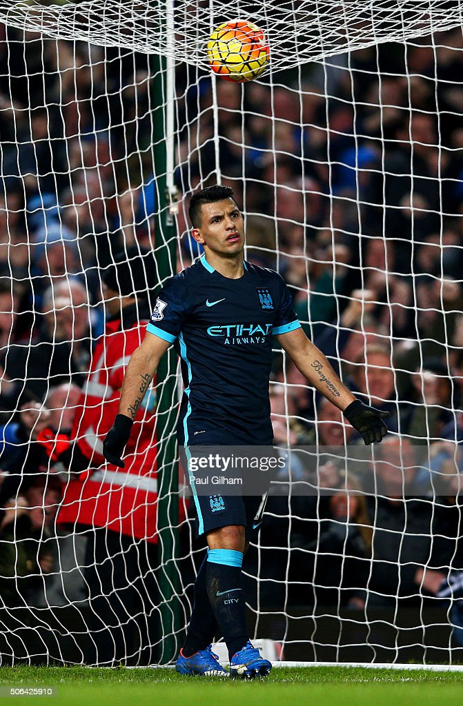 Sergio Aguero of Manchester City reacts after he scores their second goal during the Barclays Premier League match between West Ham United and Manchester City at the Boleyn Ground on January 23, 2016 in London, England.