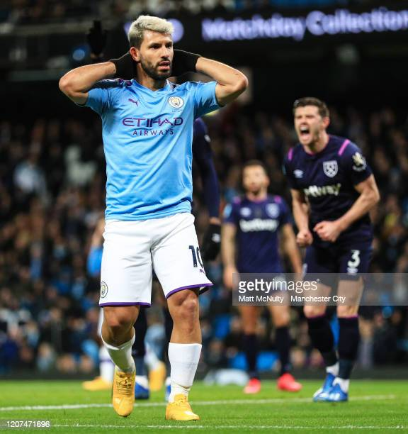 Sergio Aguero of Manchester City reacts after missing a chance during the Premier League match between Manchester City and West Ham United at Etihad...
