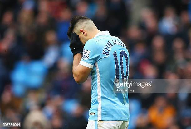 Sergio Aguero of Manchester City reacts after missing a chance during the Barclays Premier League match between Manchester City and Leicester City at...