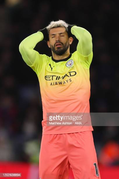 Sergio Aguero of Manchester City reacts after missing a chance to score during the Premier League match between Leicester City and Manchester City at...