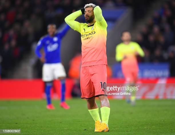 Sergio Aguero of Manchester City reacts after missing a penalty during the Premier League match between Leicester City and Manchester City at The...