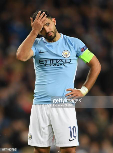 Sergio Aguero of Manchester City reacts after missing a shot at goal during the UEFA Champions League group F match between Manchester City and...