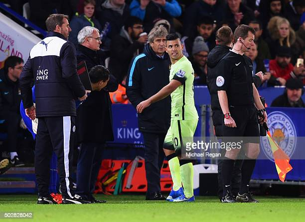 Sergio Aguero of Manchester City reacts as he is substituted as Manuel Pellegrini manager of Manchester City looks on during the Barclays Premier...
