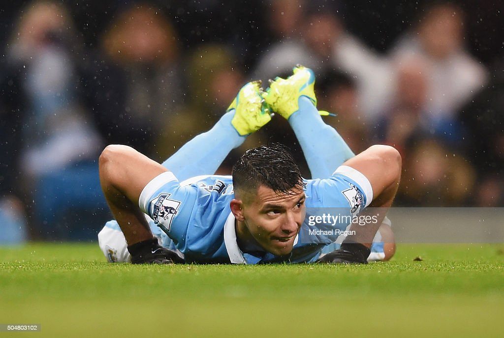 Sergio Aguero of Manchester City reacts during the Barclays Premier League match between Manchester City and Everton at the Etihad Stadium on January 13, 2016 in Manchester, England.