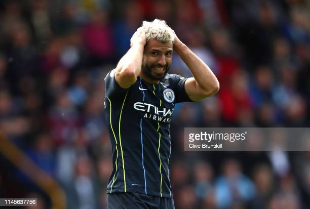 Sergio Aguero of Manchester City reacts during the Premier League match between Burnley FC and Manchester City at Turf Moor on April 28 2019 in...
