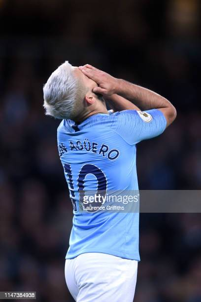 Sergio Aguero of Manchester City reacts during the Premier League match between Manchester City and Leicester City at Etihad Stadium on May 06 2019...