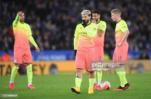 Sergio Aguero of Manchester City reacts during the Premier League match between Leicester City and Manchester City at The King Power Stadium on...