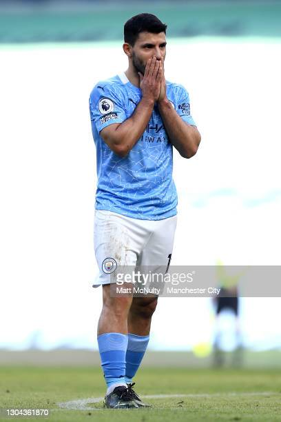Sergio Aguero of Manchester City reacts during the Premier League match between Manchester City and West Ham United at Etihad Stadium on February 27,...