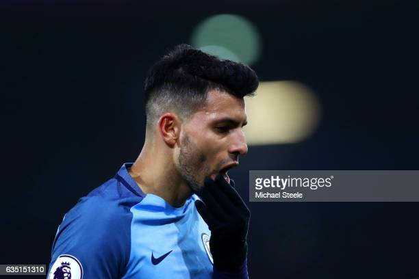 Sergio Aguero of Manchester City reacts during the Premier League match between AFC Bournemouth and Manchester City at Vitality Stadium on February...