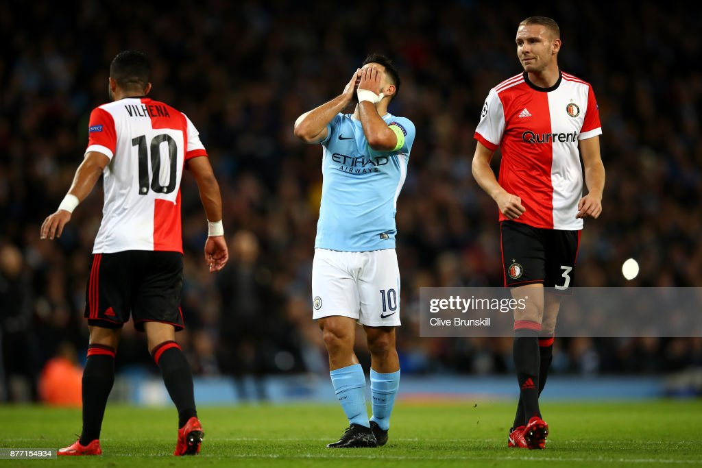 Sergio Aguero of Manchester City reacts during the UEFA Champions League group F match between Manchester City and Feyenoord at Etihad Stadium on November 21, 2017 in Manchester, United Kingdom.