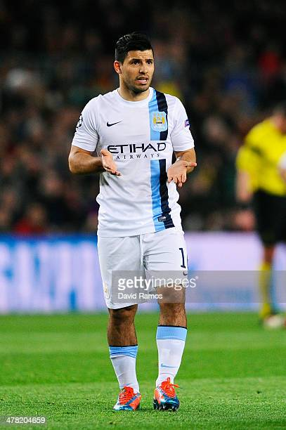 Sergio Aguero of Manchester City reacts during the UEFA Champions League Round of 16, second leg match between FC Barcelona and Manchester City at...
