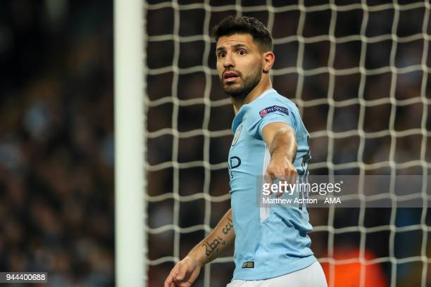 Sergio Aguero of Manchester City reacts during the UEFA Champions League Quarter Final Second Leg match at Etihad Stadium on April 10 2018 in...