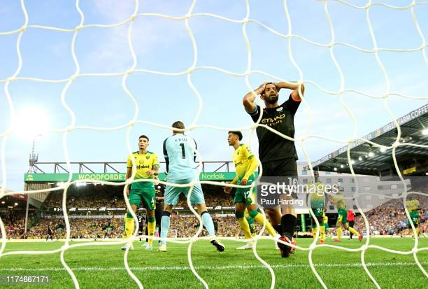 Sergio Aguero of Manchester City reacts to a missed chance during the Premier League match between Norwich City and Manchester City at Carrow Road on...