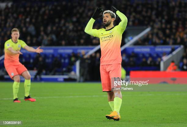 Sergio Aguero of Manchester City reacts to his penalty being saved during the Premier League match between Leicester City and Manchester City at The...