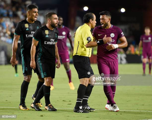 Sergio Aguero of Manchester City reacts to the referee Baldomero Toledo for a non cal after teammate Gabriel Jesus was fouled by Daniel Carvajal and...