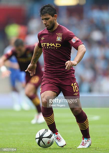 Sergio Aguero of Manchester City runs with the ball during the FA Community Shield match between Manchester City and Chelsea at Villa Park on August...