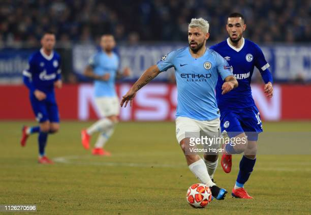 Sergio Aguero of Manchester City runs with the ball during the UEFA Champions League Round of 16 First Leg match between FC Schalke 04 and Manchester...