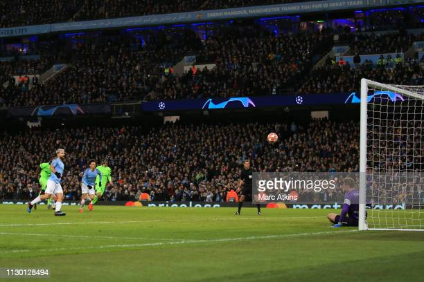 Sergio Aguero of Manchester City scores a goal from the penalty spot during the UEFA Champions League Round of 16 Second Leg match between Manchester...